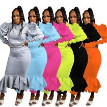 Women Solid Color Hooded Long Sleeve Fleece Bodycon Ruffled Midi Dress 2pcs