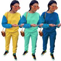 Women Fashion Round Neck Long Sleeve T-shirt Color Block Casual Long Pants Set