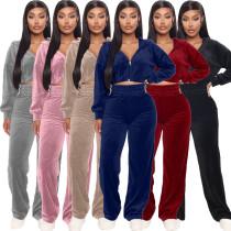 Women Casual Hooded Long Sleeve Zipper Coat+Long Pants Solid Velvet Outfits