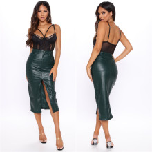 Fashion Women's Solid Color PU Pockets Slit All-match Casual OL Slim Skirt
