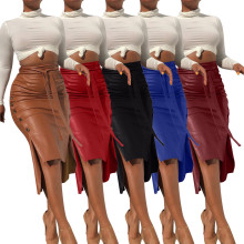 Fashion Women's Belted Solid Color PU Buttons Zipper Bodycon High Low Skirt