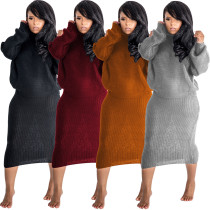 Women Casual High Neck Long Sleeve Solid Color Autumn Winter Stylish Dress 2pcs