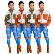 Women Fashion Long Sleeve Pockets Fluffy Patchwork Zipper Winter Coat Outwear