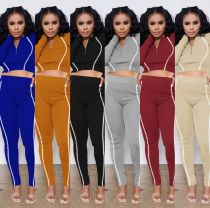 Women Fashion Long Sleeve Zipper Reflective Stripe Patchwork Bodycon Tracksuit
