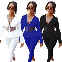 Women Sexy Tailored Collar Long Sleeve Sheer Mesh Patchwork Casual Outfits 2pcs