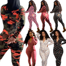 Women Fashion Sexy Long Sleeve V Neck Printed Buttons Bodycon Jumpsuit Nightwear