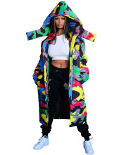 New Women Hooded Long Sleeve Camouflage Print Zipper Winter Long Down Coat