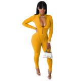 Fashion Women Long Sleeve Zipper Solid Color Sport Casual Bodycon Jumpsuit