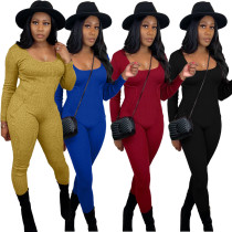 New Women Fashion Long Sleeve Solid Color Sporty Casual Bodycon Jumpsuit Romper