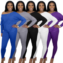 Women Fashion Long Sleeve T-shirt+Long Pants Solid Color Casual Outfits 2pcs