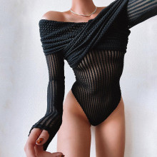 New Women Sexy Boat Neck Folded Long Sleeve Persepctive Mesh Solid Bodysuit