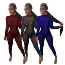 Women Sexy Long Sleeve PU Patchwork Perspective Mesh Zipper Bodycon Jumpsuit