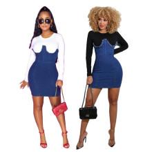 Women Fashion Long Sleeve Denim Patchwork Zipper Bodycon Casual Short Dress