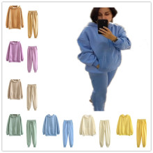 Women Simple Hooded Long Sleeve Pockets Brushed Thicken Solid Color Leisure Wear