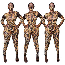 Women Fashion Mesh Patchwork Long Sleeve Leopard Print Bodycon Jumpsuit NO MASK