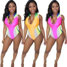 Women Sleeveless Zipper Colors Patchwork Summer Beach Bodycon Bikini Swimwear