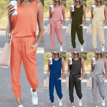 New Women Simple Sleeveless Top Solid Color Pockets Pants Casual Home Outfits