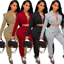 Women Hooded Long Sleeve Zipper Solid Color Pockets Casual Sport Outfits 2pcs