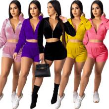 Women's Hooded Long Sleeve Zipper Solid Color Velvet Short Pants Set Casual Home
