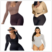 New Women's Long Sleeves Solid Color Bodycon Tight Bodysuit Casual Sexy Wear