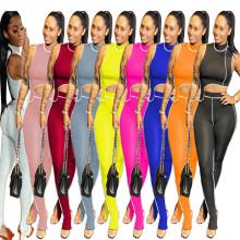 XS-2XL Women's Sleeveless Irregular Top Solid Patchwork Slit Long Pants Set 2pcs