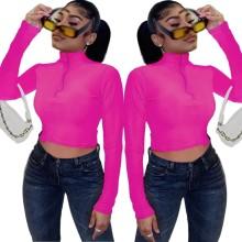 Fashion Women Long Sleeve Solid Color Zipper Slim Casual Short T-shirt Tops