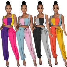 Women Fashion Shoulder Strap Vest Colors Patchwork Pockets Casual Long Pants Set