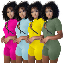Women Fashion Short Sleeve Solid Color Inclined Zipper Bodycon Short Jumpsuit