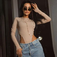 New Women's Fashion Round Neck Long Sleeve Solid Color Chains Sexy Bodysuit