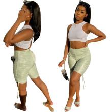 New Women Fashion Elastic Waist Printed Drawstring Skinny Casual Cropped Pants