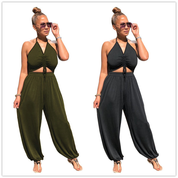 Women Sexy Spaghetti Strap Solid Color Drawstring Backless Casual Jumpsuit