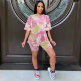 Fashion Women's Outfits Short Sleeve T-shirt Tie-dyed Print Short Pants Set 2pcs