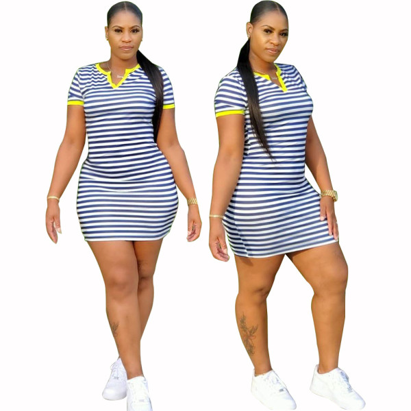 New Women's V Neck Short Sleeve Patchwork Stripe Print Casual Bodycon Dress