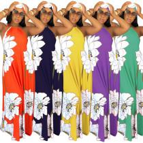 Women Sexy Headband Halter Sleeveless Floral Print Backless Loose Long Dress