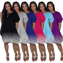 Women Sexy Round Neck Short Sleeve Gradient Print Casual Loose Dress NO POCKET