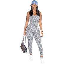 Women Sexy Spaghetti Strap Solid Color Bodycon Jumpsuit Sport Leisure Wear