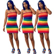 New Women's Strapless Off the Shoulder Colorful Stripes Print Casual Sexy Dress