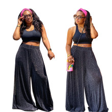 Fashion Women Sleeveless Vest+Long Shiny Wide Leg Pants Casual Outfits 2pcs