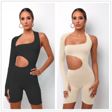 New Women's Sexy Single Sleeve Solid Color Irregular Bodycon Short Jumpsuit