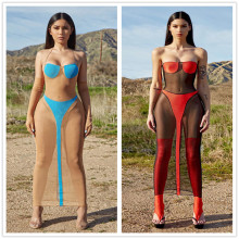 Women Sexy Halter Oversleeve Backless Mesh Patchwork Perspective Bodycon Dress