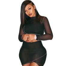 Women Sexy Long Sleeve Solid Color Mesh Perspective Patchwork Bodycon Skirt Set