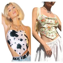 Sexy Women Halter Bandage Sleeveless Backless Printed Tube Top Casual Tops