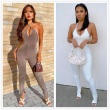 Sexy Women Halter Sleeveless Solid Color Backless Bodycon Slit Casual Jumpsuit