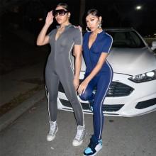 New Women Short Sleeve Solid Zipper Reflective Stripe Patchwork Bodycon Jumpsuit