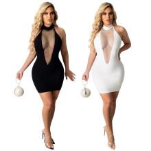 Sexy Women Halter Sleeveless Bandage Backless Mesh Patchwork Bodycon Dress