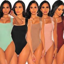 New Women's Shoulder Strap Solid Color Slim Bodysuit Casual Fashion Jumpsuit