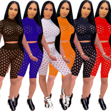 Women Sexy Short Sleeve Top Hollow Out Solid Color Casual Bodycon Casual Outfits