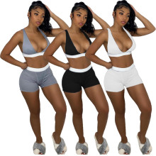 Fashion Women V Neck Sleeveless Crop Top Patchwork Sporty Short Pants Set 2pcs