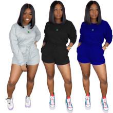 New Women Long Sleeve T-shirt Solid Color Pockets Short Pants Set Casual 2pcs