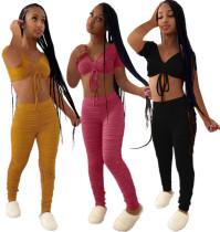 New Women Sexy Short Sleeve Drawstring Crop Top Solid Long Draped Pants Set 2pcs